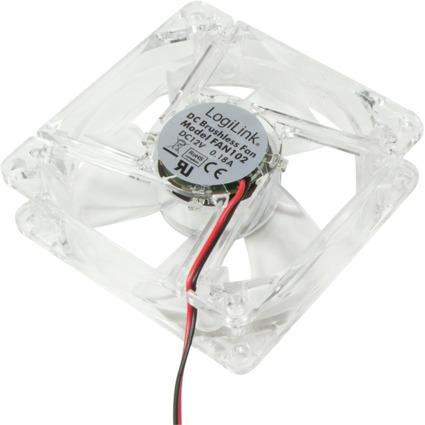 LogiLink Gehäuselüfter, 80 x 80 x 25 mm, transparent