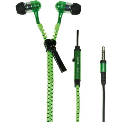 LogiLink Reißverschluss In-Ear Headset, neon-grün