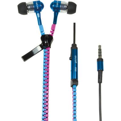 LogiLink Reißverschluss In-Ear Headset, blau/pink