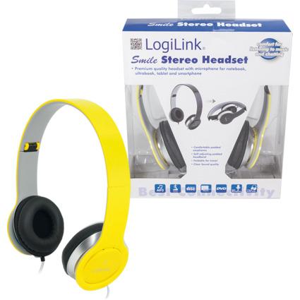 LogiLink Headset High Quality, faltbar, gelb