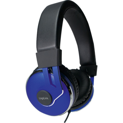 LogiLink Headset, blau / schwarz, Anschluss: 3,5 mm Klinke