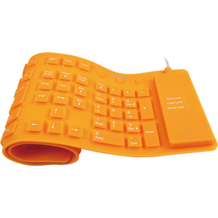 LogiLink Flexible Silikon-Tastatur, kabelgebunden, orange