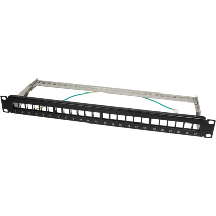 "LogiLink 19"" Keystone Patch Panel, geschirmt, schwarz"