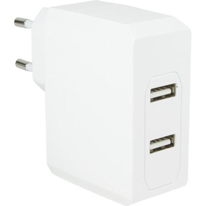 LogiLink USB-Ladegerät, 2 x USB-Kupplung, Eurostecker