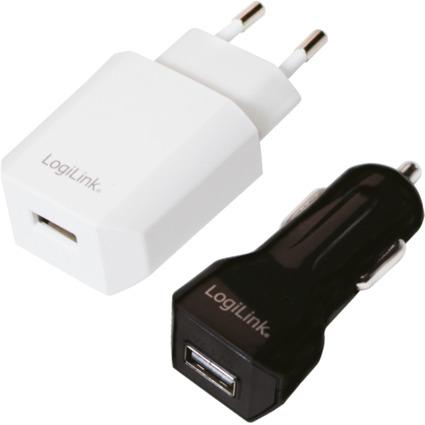 LogiLink USB-Ladegeräte-Set, 2-teilig