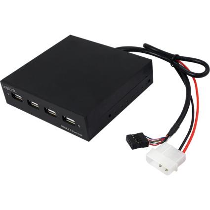 """LogiLink USB 2.0 Hub für 3,5"""" Einbauschacht am PC, 4 Port"""