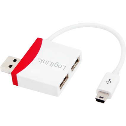 LogiLink USB 2.0 Hub, 2 Port + Mini USB Kabel, weiß/rot