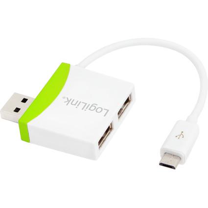 LogiLink USB 2.0 Hub, 2 Port + Micro USB-Kabel, weiß/grün