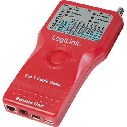 LogiLink Kabeltester 5-in-1, mit Remote Einheit, rot