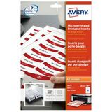 AVERY inserts pour badges en planches A4, 54 x 90 mm, blanc