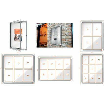 nobo Schaukasten, Metall-Rückwand, Innenbereich, 4 x DIN A4
