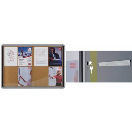 nobo Schaukasten, Schiebetür, Kork-Rückwand, 8 x DIN A4