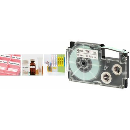 CASIO XR Schriftbandkassette, schwarz auf blau, 18 mm / 8 m