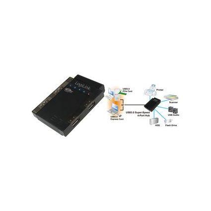 LogiLink USB 3.0 Hub Super Speed, 4 Port, schwarz