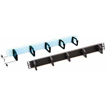 """apranet 19"""" Kabelführungspanel 1 HE - mit Kunststoffbügeln"""