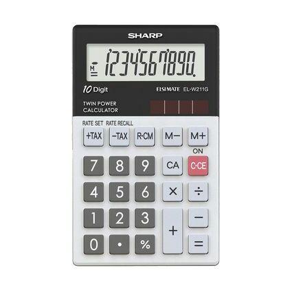 SHARP Taschenrechner EL-W211G GY, Solar-/ Batteriebetrieb