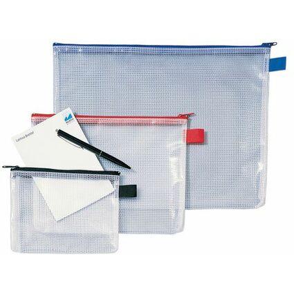 Rexel Reißverschlusstasche Mesh Bags, DIN A4, PVC, schwarz