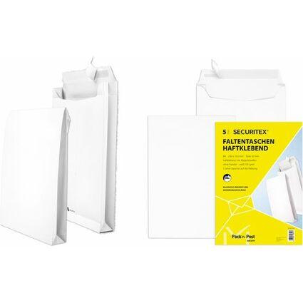 SECURITEX Faltenversandtasche, B4, weiß, ohne Fenster