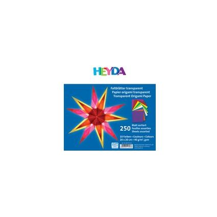 HEYDA Origami Faltblätter, transparent, farbig sortiert