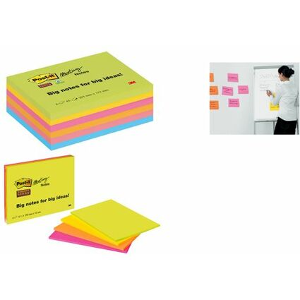 Post-it Meeting Notes Super Sticky, 152 x 101 mm, 4-farbig