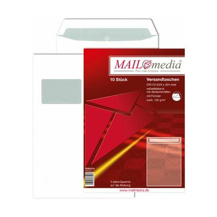 MAILmedia Versandtasche Offset weiß, C4, mit Fenster