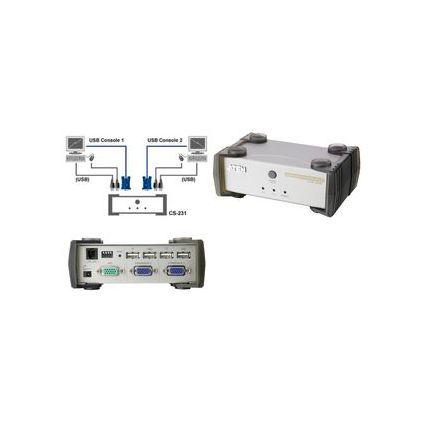 ATEN KVM Switch USB, 2-fach, Metallgehäuse, silber/anthrazit