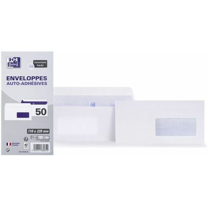 Oxford Enveloppes, DL, 110 x 220 mm, 80 g, autocollantes