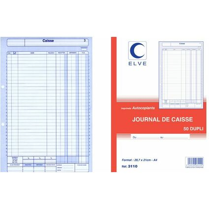 ELVE Journal de caisse, 297 x 210 mm, dupli