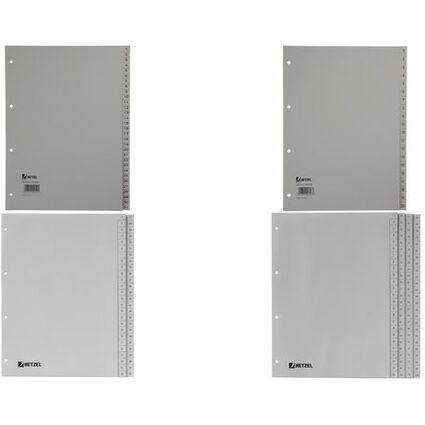 HETZEL Kunststoff-Register, Zahlen, A4, 1-20, PP, grau