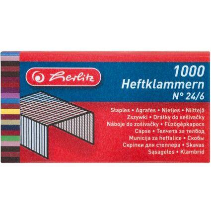 herlitz Heftklammern 24/6, Metall, Inhalt: 1.000 Stück