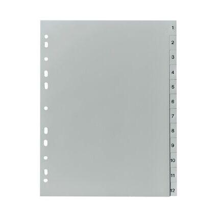 herlitz Kunststoff-Register, Zahlen, A4, 20-teilig, grau