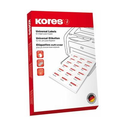 Kores Universal-Etiketten, 70 x 42,3 mm, rot, 100 Blatt
