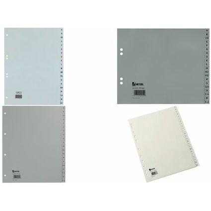 HETZEL Kunststoff-Register, A-Z, A4, PP, 20-teilig, grau