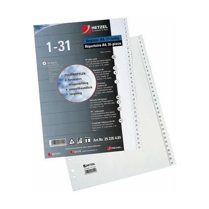 HETZEL Kunststoff-Register, Zahlen, A4, 1-10, PP, blau