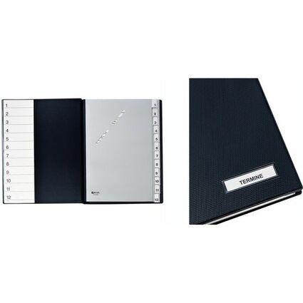 HETZEL Pultordner 1-12, 12 Fächer, DIN A4, schwarz