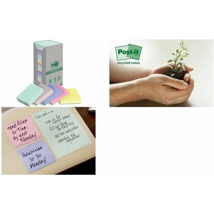 Post-it Haftnotizen Recycling, 38 x 51 mm, 6-farbig
