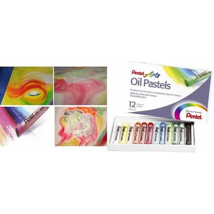 PentelArts Ölpastellkreide PHN4, 12er Kunststoff-Etui