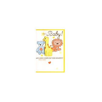 HORN Geburtskarte - Teddybär mit Schleife - inkl. Umschlag