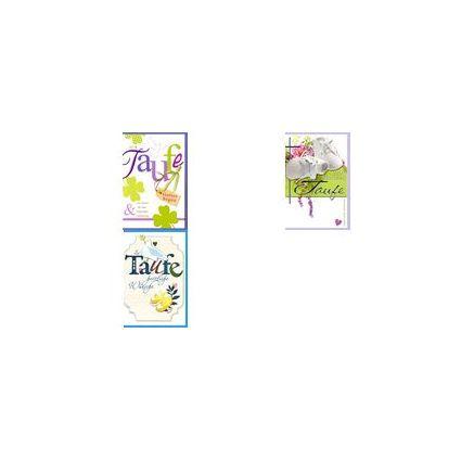 HORN Taufkarte - Tauben und Kleeblätter - inkl. Umschlag