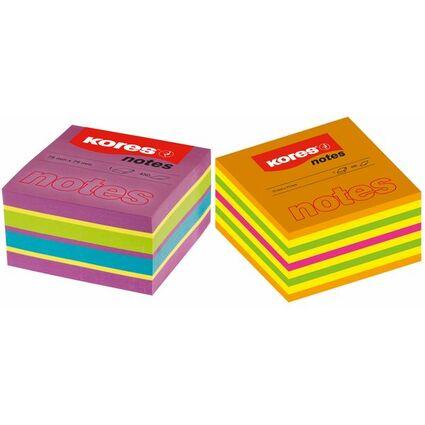 """Kores Haftnotizen Würfel """"Spring"""", 75 x 75 mm, 4-farbig"""