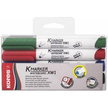 """Kores Whiteboard- & Flipchart-Marker """"K MARKER"""", 4er Etui"""