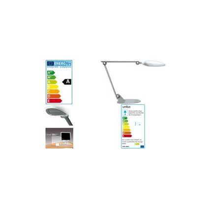 unilux Energiespar-Tischleuchte AERO, metallgrau / schwarz