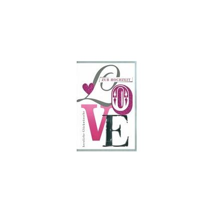 HORN Hochzeitskarte - Glimmer-Herzen, inkl. Umschlag