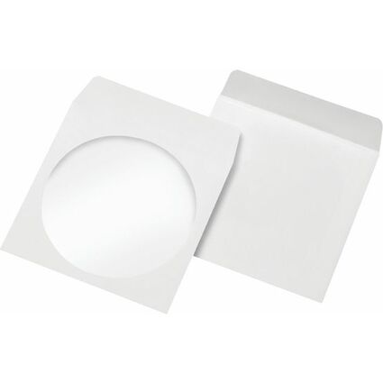 MAILmedia CD-/DVD-Papiertaschen, mit Fenster, Offset weiß