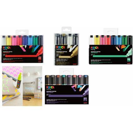 uni-ball Pigmentmarker POSCA (PC-8K), 8er Box, farbig sort.