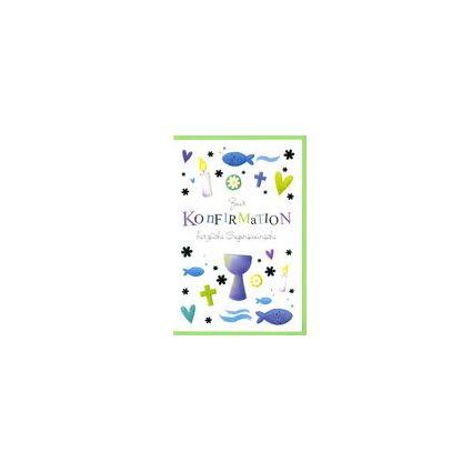 HORN Konfirmationskarte - Blau-Grüne Symbole