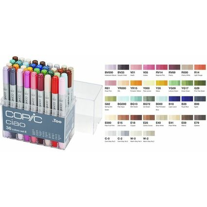 COPIC Hobbymarker ciao, 36er Set E