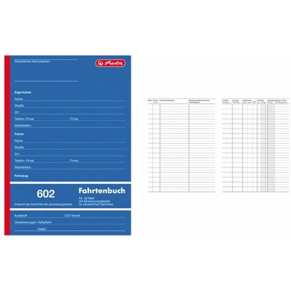 "herlitz Formularbuch ""Fahrtenbuch 602"", A5, 32 Blatt"