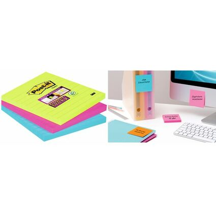 Post-it Haftnotizen Super Sticky Notes, 100x100 mm, 3-farbig
