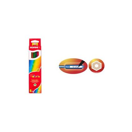 Kores Buntstifte, 24er Karton-Etui + gratis Spitzer, 6-eckig